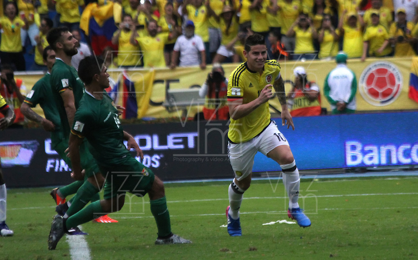 BARRANQUILLA -COLOMBIA, 23-MARZO-2017. James Rodriguez player of Colombia  celebrates his goal against of Bolivia   during match for the qualifiers for the World Cup of Soccer Russia 2018 played in the  Metropolitano Roberto Melendez stadium in Barranquilla . Photo:VizzorImage / Felipe Caicedo  / Staff
