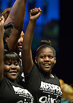 Members of Summer of Sisterhood, a musical group from the Westside Community House in Cleveland, Ohio, perform at the United Methodist Women's Assembly during an April 26, 2014 worship service at the Kentucky International Convention Center in Louisville, Kentucky.