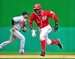 26 September 2010: Washington Nationals outfielder Nyjer Morgan hustles on the basepath during game action against the Atlanta Braves at Nationals Park in Washington, DC. The Nationals defeated the pennant-seeking Braves 4-2 to take the rubber match of their 3-game series. Mandatory Credit: Ed Wolfstein Photo