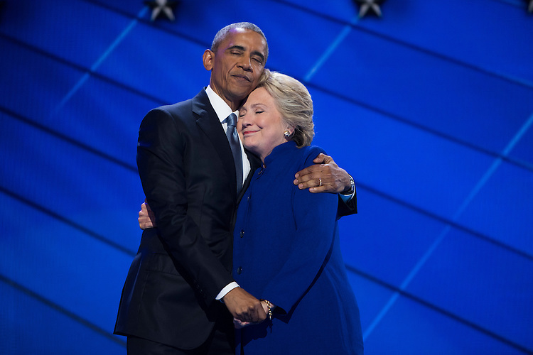 UNITED STATES - JULY 27: President Barrack Obama and Democratic presidential nominee Hillary Clinton meet on stage of the Wells Fargo Center in Philadelphia, Pa., on the third day of the Democratic National Convention, July 27, 2016. (Photo By Tom Williams/CQ Roll Call)