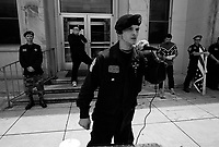 Russelville, AL, USA , May 9th 2009.Ford, 22, a veteran from Iraq, delivers an incredibly violent racist speech. A Ku Klux Klan rally in front of Russellville's  courthouse in northern Alabama, very few inhabitants attend. Since President Obama was elected on Nov. 4th, 2008, the Ku Klux Klan has seen new memberships applications being multiplied by 6 compared to the previous year!
