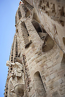 Thomas, the apostle; bell towers, Passion façade, completed late 1980?s by the sculptor Josep Maria Subirachs, La Sagrada Familia, Barcelona, Catalonia, Spain, Roman Catholic basilica, built by Antoni Gaudí (Reus 1852 ? Barcelona 1926) from 1883 to his death. Still incomplete. Picture by Manuel Cohen