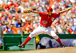 11 June 2006: Bill Bray, pitcher for the Washington Nationals, winds up on the mound against the Philadelphia Phillies at RFK Stadium, in Washington, DC. The Nationals shut out the visiting Phillies 6-0 to take the series three games to one...Mandatory Photo Credit: Ed Wolfstein Photo..