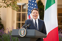 Washington DC, October 18, 2016, USA:  Prime Minister Matteo Renzi of Italy and President Barack Obama hold a joint news conference in the White House Rose Garden.  Patsy Lynch/MediaPunch