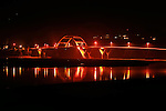 The Alsea Bay Bridge on the Oregon Coast Highway (US 101) in Waldport, Oregon at night.
