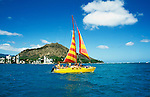 Hawaii: Catamaran sailing off Waikiki. Photo: hikids102  .Photo copyright Lee Foster, www.fostertravel.com, 510/549-2202, lee@fostertravel.com