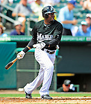 16 March 2009: Florida Marlins' outfielder Alejandro De Aza in action during a Spring Training game against the Washington Nationals at Roger Dean Stadium in Jupiter, Florida. The Nationals defeated the Marlins 3-1 in the Grapefruit League matchup. Mandatory Photo Credit: Ed Wolfstein Photo