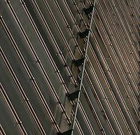 Tropical Rainforest Glasshouse (formerly Le Jardin d'Hiver or Winter Gardens), 1936, René Berger, Jardin des Plantes, Museum National d'Histoire Naturelle, Paris, France. Detail showing the glass and metal walls of the Art Deco style building.