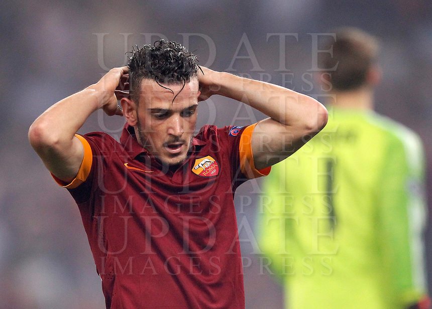 Calcio, Champions League, Gruppo E: Roma vs Bayern Monaco. Roma, stadio Olimpico, 21 ottobre 2014.<br /> Roma&rsquo;s Alessandro Florenzi reacts during the Group E Champions League football match between AS Roma and Bayern at Rome's Olympic stadium, 21 October 2014.<br /> UPDATE IMAGES PRESS/Isabella Bonotto