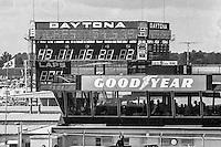 The old scoring tower and the old GoodYear building, 1978 Firecracker 400 NASCAR race, Daytona International Speedway, Daytona Beach, FL, July 4, 1978.  (Photo by Brian Cleary/ www.bcpix.com )