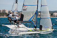 20140328, Palma de Mallorca, Spain: SOFIA TROPHY 2014 - 850 sailors from 50 countries compete at the ISAF Sailing World Cup event. 49erFX - USA216 - Kristen Lane / Margaret Shea. Photo: Mick Anderson/SAILINGPIX.