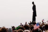 Czech people, gathered around a statue of the first Czech President T. G. Masaryk, watch and listen to the US President Barack Obama's speech at Prague Castle in Prague, Czech Republic, 4 April 2009. President Barack Obama and his wife visited Prague (Czech Republic) during the Czech Presidency of the European Union in April 2009.
