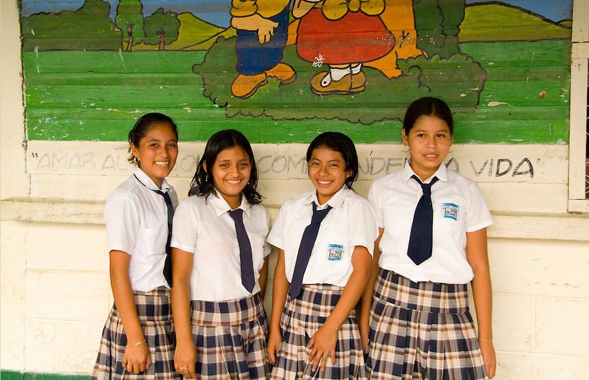 Local school students, Antigua, Guatemala,  Central America