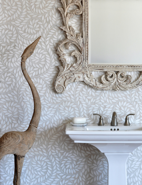 Jacqueline Vine, a handmade mosaic shown in tumbled Thassos, is part of the Silk Road Collection by Sara Baldwin for New Ravenna. <br /> <br /> For pricing samples and design help, click here: http://www.newravenna.com/showrooms/