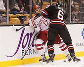Evan Rodrigues (BU - 17), Mike Gunn (NU - 6) - The Northeastern University Huskies defeated the Boston University Terriers 3-2 in the opening round of the 2013 Beanpot tournament on Monday, February 4, 2013, at TD Garden in Boston, Massachusetts.