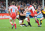 Andy Hall charges through the Gloucester defence. Gloucester V Newport Gwent Dragons, EDF Energy Cup © Ian Cook IJC Photography iancook@ijcphotography.co.uk www.ijcphotography.co.uk