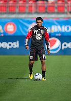 August 21 2010 D.C. United midfielder Andy Najar #14 in action during the warm-up in a game between DC United and Toronto FC at BMO Field in Toronto..DC United won 1-0.