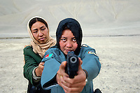Women police officers practicing at shooting range, Afghanistn 2007