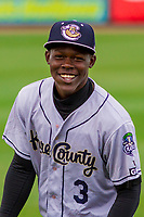 Kane County Cougars shortstop Jasrado Chisholm (3) warms up in the outfield prior to a Midwest League game against the Wisconsin Timber Rattlers on April 24, 2017 at Fox Cities Stadium in Appleton, Wisconsin.  Kane County defeated Wisconsin 5-1. (Brad Krause/Krause Sports Photography)