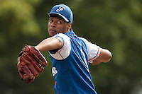 13 July 2010: Arold Castillo of Team France pitches against Team Saint Martin during day 1 of the Open de Rouen, an international tournament with Team France, Team Saint Martin, Team All Star Elite, at Stade Pierre Rolland, in Rouen, France.