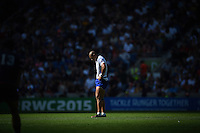 Paul Perez of Samoa looks to the ground during a break in play. Rugby World Cup Pool B match between Samoa and the USA on September 20, 2015 at the Brighton Community Stadium in Brighton, England. Photo by: Patrick Khachfe / Onside Images