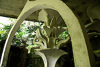 Cement flower at Las Pozas, the surrealistic sculpture garden created by Edward James  near Xilitla, Mexico