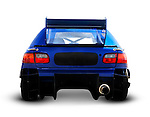 Blue race car close-up of back Isolated with clipping path on white background