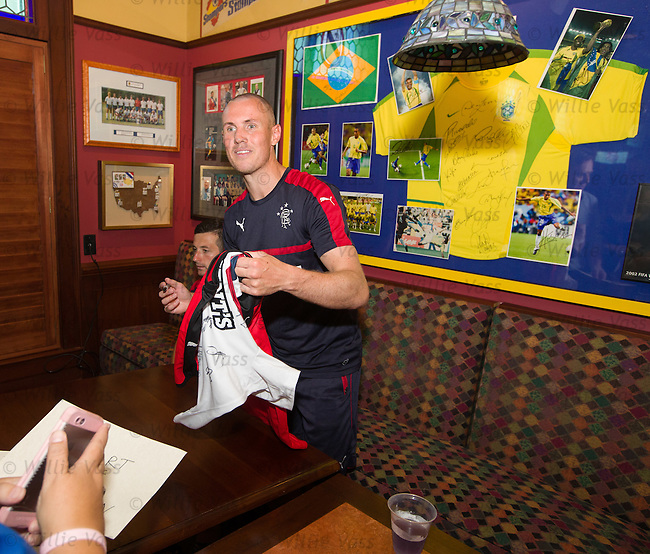Kenny Miller signing autographs for supporters as the team has a meet and greet in the three lions bar at the MUSC Health Stadium in Charleston, South Carolina