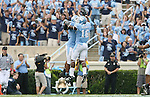 06 October 2007: North Carolina's Kendric Burney (16) and Durell Mapp chest bump after a defensive stop. The University of North Carolina Tar Heels led the University of Miami Hurricanes 27-0 at halftime at Kenan Stadium in Chapel Hill, North Carolina in an Atlantic Coast Conference NCAA College Football Division I game.