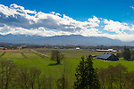 Dungeness /Sequim valley, seen from high on the cemetery looking south toward the Olympic Mountains on a spectacular spring day. The Lotzgesell farm and 100 year old barn is in foreground.