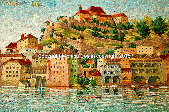 Mosaic of historic downtown with views of Hohensalzburg Fortress, as it would be in 1818; this mosaic is in the Monchsberg Lift that takes you up to the Modern Art Museum and panoramic views of the city