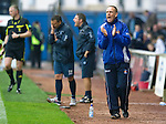 Kilmarnock v St Johnstone...01.10.11   SPL Week 10.Kenny Shiels tries to get his team going.Picture by Graeme Hart..Copyright Perthshire Picture Agency.Tel: 01738 623350  Mobile: 07990 594431