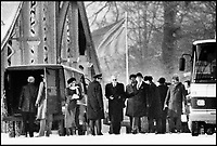 BNPS.co.uk (01202 558833)<br /> Pic: TheHistoryPress/BNPS<br /> <br /> The bridge photographed clandestinely during a spy-swap, with the gent in bowler hat obviously catching the next flight back to London with his &lsquo;Joe&rsquo;.<br /> <br /> A former spy has given a unique account of being held hostage in an East German prison and interrogated by the KGB in a new book.<br /> <br /> Ex-British agent Douglas Boyd was confronted by the KGB while enduring solitary confinement as a Cold War prisoner in a Stasi interrogation prison behind the iron curtain in 1959.<br /> <br /> KGB officers tried desperately to get him to break his cover - of a run of the mill clerk - and offered him a bogus deal in order to get him out of the prison so they could take him to a Gulag.<br /> <br /> The Solitary Spy, A Political Prisoner in Cold War Berlin, by Douglas Boyd, is published by The History Press and costs &pound;20.