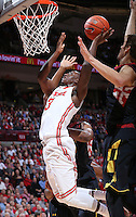 Ohio State Buckeyes guard Shannon Scott (3) goes up for a basket but fails to complete in the first half of the college basketball game between the Ohio State Buckeyes and the Maryland Terrapins at the Jerome Schottenstein Center in Columbus, Wednesday evening, December 4, 2013. As of half time the Ohio State Buckeyes led the Maryland Terrapins 43 - 26. (The Columbus Dispatch / Eamon Queeney)