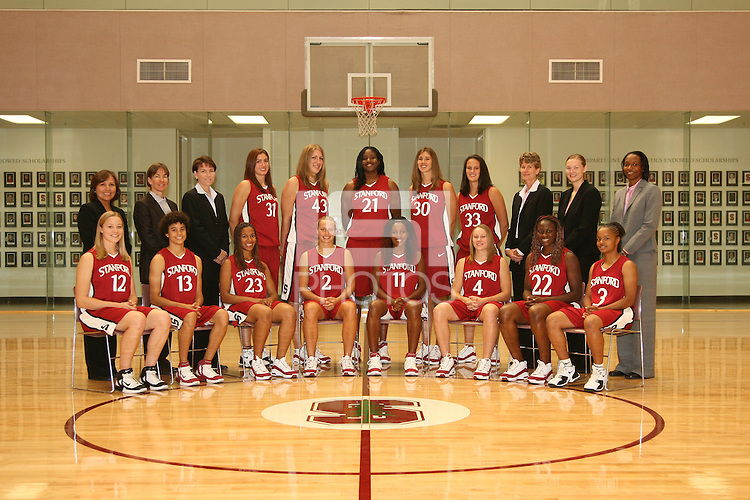 6 October 2005: Team photo: Marcella Shorty, Tara Vanderveer, Karen Middleton, Morgan Clyburn, Kristen Newlin, Shelley Nweke, Brooke Smith, Jillian Harmon, Amy Tucker, Kelly Clark, Charmin Smith. Sitting: Christy Titchenal, Cissy Pierce, Rosalyn Gold-Onwude, Krista Rappahahn, Candice Wiggins, Clare Bodensteiner, Eziamaka Okafor, and Markisha Coleman at the Arrillaga Family Sports Center in Stanford, CA.