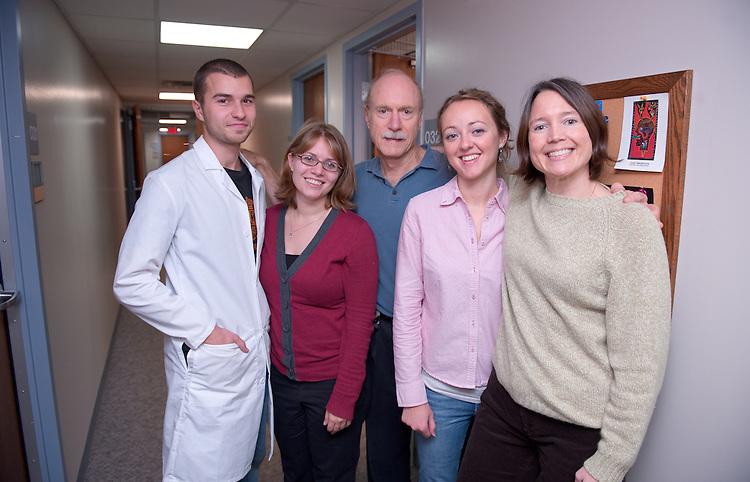 19144Psychology Dept Lab photos: Headache Lab.. Boris Todorov, Betsy Seng, Kenneth Holroyd, Jamie Huckins, and Carol Nogrady