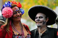 Revellers take part in the Mexican anniversary of Day of the Dead in the Manhattan neighborhood, New York. 25.06.2015. Eduardo MunozAlvarez/VIEWpress.