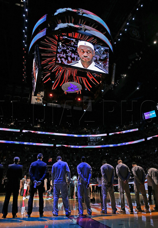 Opening ceremonies for Game 6 of the NBA Finals between the Miami Heat and the San Antonio Spurs at the AmericanAirlines Arena on Tuesday, June 18, 2013.