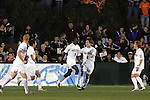 14 December 2007: Wake Forest's Marcus Tracy (9) celebrates scoring his first goal with teammates including Sam Cronin (2). The Wake Forest University Demon Deacons defeated the Virginia Tech University Hokies 2-0 at SAS Stadium in Cary, North Carolina in a NCAA Division I Men's College Cup semifinal game.