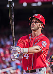 28 September 2014: Washington Nationals outfielder Bryce Harper at bat against the Miami Marlins at Nationals Park in Washington, DC. The Nationals shut out the Marlins 1-0, caping the season with the first Nationals no-hitter in modern times. The win also notched a 96 win season for the Nats: the best record in the National League. Mandatory Credit: Ed Wolfstein Photo *** RAW (NEF) Image File Available ***
