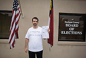 Ray Ubinger stands outside the Durham County Board of Elections, where he was protesting the canceling of his ballot due to discrepancies with writing in a candidate, Tues., Nov. 4, 2008.<br /> Photograph by D.L. Anderson