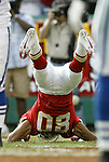 31 October 2004: The Chiefs' Johnnie Morton celebrates his touchdown 0:40 into the second quarter by doing the worm. The TD gave the Chiefs a 13-7 lead. The Kansas City Chiefs defeated the Indianapolis Colts 45-35 at Arrowhead Stadium in Kansas City, MO in a regular season National Football League game...