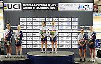 Picture by Simon Wilkinson/SWpix.com - 04/03/2017 - Cycling 2017 UCI Para-Cycling Track World Championships, Velosports Centre, Los Angeles USA - Gold Silver Bronze for GB - Sophie Thornhill Corrine Hall, Aileen McGlynn Louise Haston, Aliosn Patrick and Helen Scott