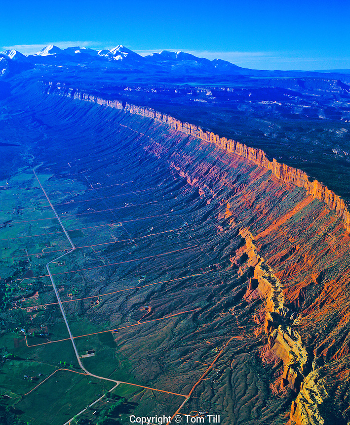 Aerial View of Porcupine Rim, Castle Valley and La Sal Mountains, Grand County, Utah