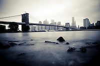 Artsy picture of the Brooklyn bridge from DUMBO, Brooklyn, New York, 2010.