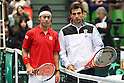 (L to R) Kei Nishikori (JPN), Ivan Dodig (CRO), .February 12, 2012 - Tennis : .Davis Cup 2012, World Group 1st Round.match between Kei Nishikori 3-0 Ivan Dodig (CRO) .at Bourbon Beans Dome, Hyogo, Japan. .(Photo by Daiju Kitamura/AFLO SPORT) [1045]