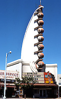 """San Diego: Tower Bowl, 1940. S. Charles Lee. """"The Streamline Moderne by a West Coast master"""". 28 bowling alleys. Demolished. Photo '76."""