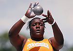 14 June, 2008:  Tennessee's Annie Alexander is a study in concentration as she prepares to put the shot at the NCAA Division 1 Men's and Women's Track &amp; Field Championships in Des Moines, Iowa.   David Peterson