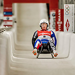 5 December 2015: Gry Martine Mostue, competing for Norway, crosses the finish line on her second run of the Viessmann World Cup Women's Luge, with a combined 2-run time of 1:29.402 and a 17th place result at the Olympic Sports Track in Lake Placid, New York, USA. Mandatory Credit: Ed Wolfstein Photo *** RAW (NEF) Image File Available ***