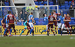 St Johnstone v Motherwell&hellip;20.02.16   SPFL   McDiarmid Park, Perth<br />Louis Moult scores for Motherwell<br />Picture by Graeme Hart.<br />Copyright Perthshire Picture Agency<br />Tel: 01738 623350  Mobile: 07990 594431